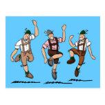 Postcard Three Dancing Lederhosen Bavarians