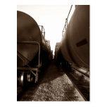 Postcard ~ TRAIN YARD THE LONG HALLWAY CARS