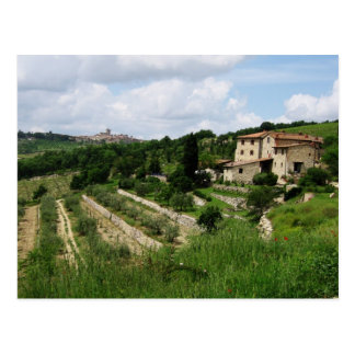 Postcard - Tuscan Vineyard and Hill Town