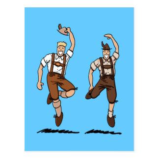 Postcard Two Dancing Lederhosen Bavarians