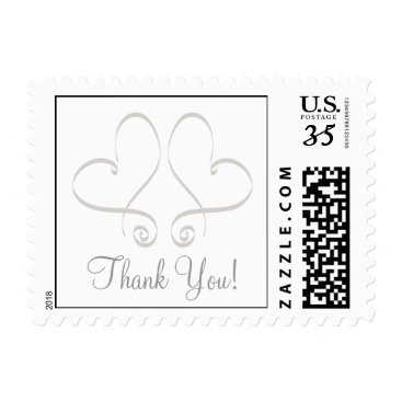 Valentines Themed Postcard Two Hearts Thank You Postage