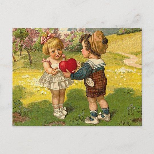 Postcard Valentines Love Little Boy Girl Heart Zazzlecom