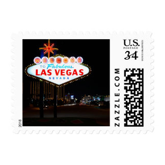 Postcard Vegas Sign Night Postage