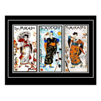 Postcard Vintage Asian Art Mikado