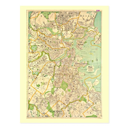 Postcard-Vintage Boston Maps-2 Postcard