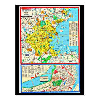 Postcard-Vintage Boston Maps-3 Postcard