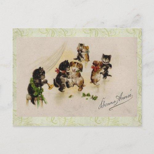 Postcard-Vintage Christmas Cats Dogs Dancing postcard