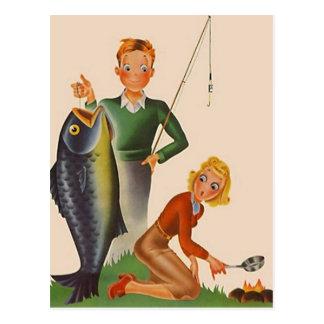Postcard Vintage Fishing Camping Vacation PC
