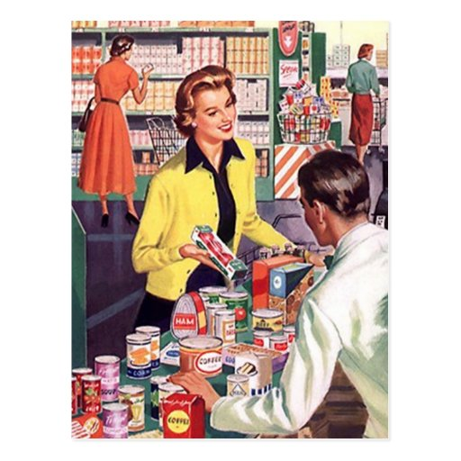 Postcard Vintage Grocery Shopping Business Sale PC