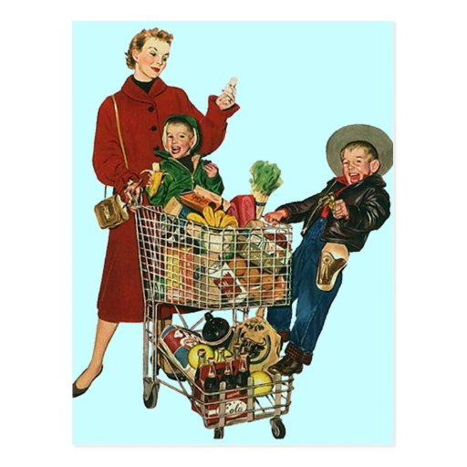 Postcard Vintage Grocery Shopping Family PC