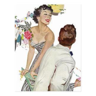Postcard Vintage Happy Announcement Couple Engaged