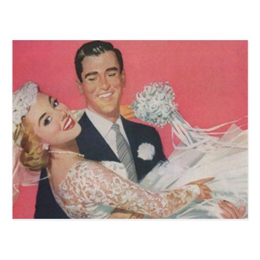 Postcard Vintage Happy Bride Groom Couple Wedding