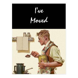 Postcard Vintage Man Make Coffee Moved New Address