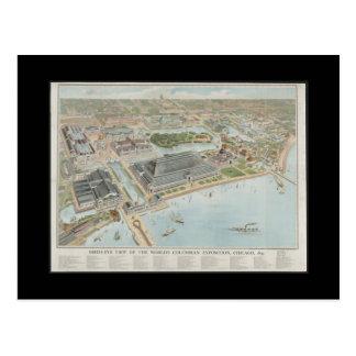 Postcard-Vintage Maps-Chicago 1893 Postcard