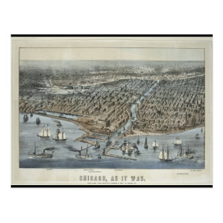 Postcard-Vintage Maps-Chicago As It Was in 1872 Postcard