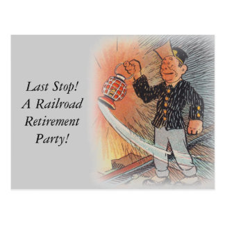 Postcard Vintage Railroad Retirement Party Station