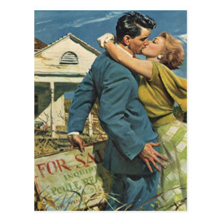 Postcard Vintage Retro Couple Housewarming Party