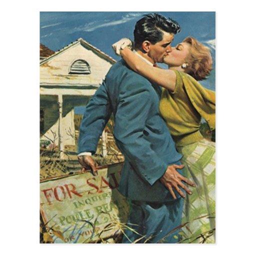 Postcard vintage retro couple housewarming party zazzle for Classic housewarming gifts