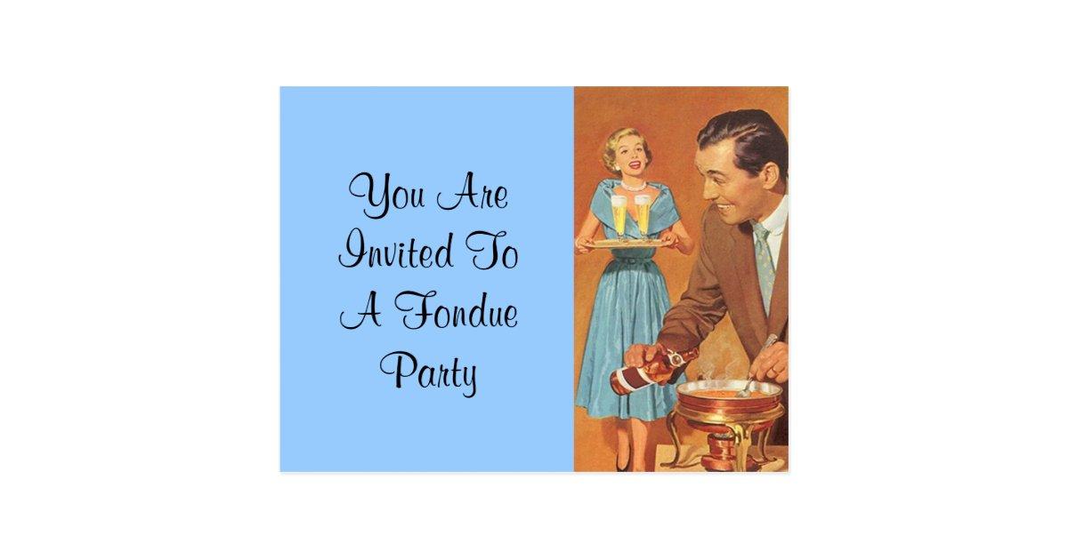 Postcard Vintage Retro Fun Fondue Party Invitation | Zazzle.com