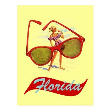 Beach Themed Postcard Vintage Retro Sunshine State Florida Fla