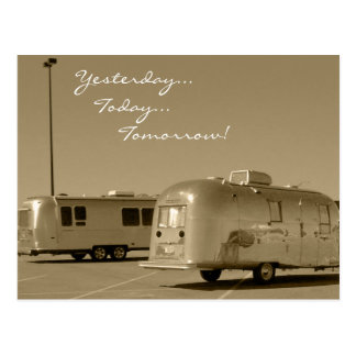 Postcard Vintage Retro Travel Trailer Road Trip
