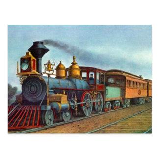 Postcard Vintage Train Railroad Tracks Locomotive
