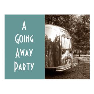 Postcard Vintage travel trailer camper going away