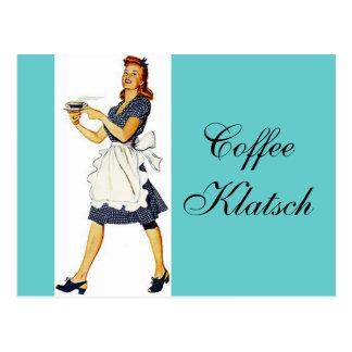 Postcard  Vintage Waitress Coffee Klatsch Invite