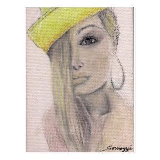 Postcard w/ orig. art, blond woman in yellow hat