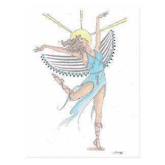 "Postcard w/ orig. art of a ""Blue Angel"" or fairy"