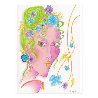 "Postcard w/ orig. art of stylized ""flower child"""