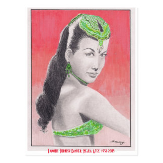 Postcard w/ orig. art, Turkish Dancer Nejla Ates