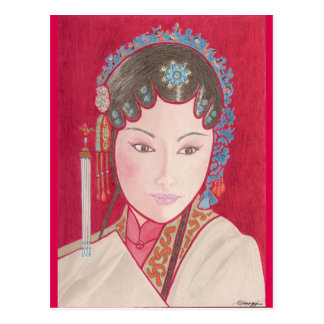 Postcard w/ original art of Chinese dancer
