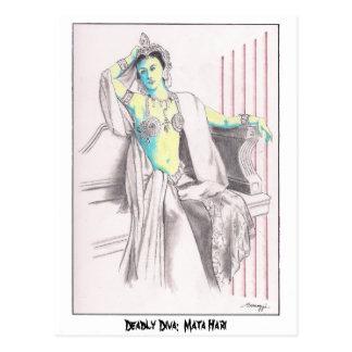 Postcard w/ original art of Mata Hari