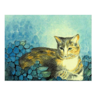 """Postcard water color """"cat with blue Hortensien """""""