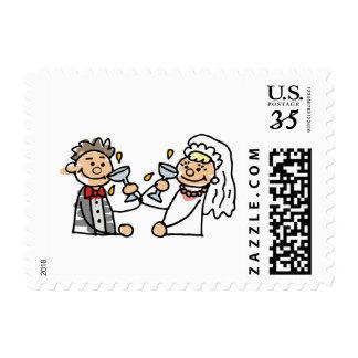 Postcard Wedding Couple Toast Wedding Reception Stamps