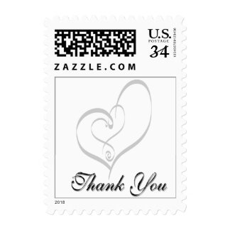 Postcard Wedding Hearts Thank You Postage