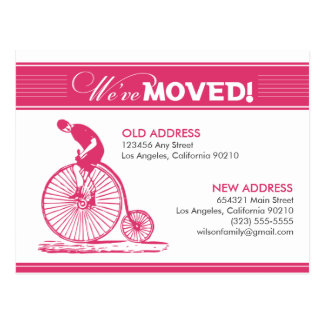 POSTCARD: We've Moved! Antique Bicycle (fuchsia) Postcard
