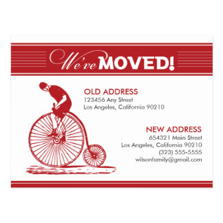 POSTCARD: We've Moved! Antique Bicycle (red) Postcard