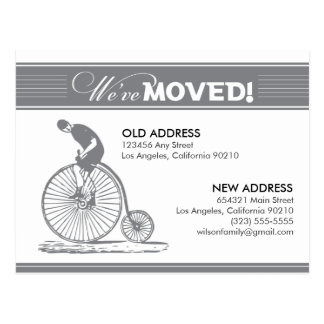 POSTCARD: We've Moved! Antique Bicycle (silver) Postcard