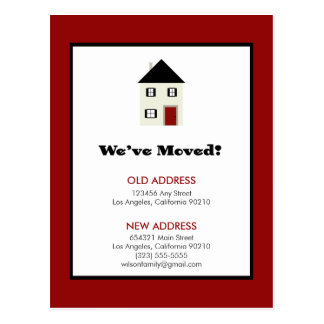 POSTCARD: We've Moved! Classic House (red) Postcard