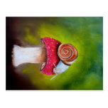 Postcard with a painted snail and mushroom