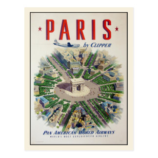Postcard with Airline Advertising Poster Print