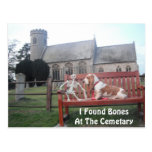 Postcard With Basset Hound Visiting Cemetary