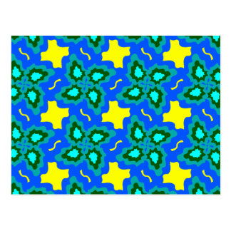 Postcard with Blue and Yellow Abstract