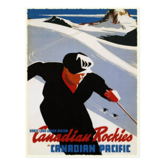 Postcard with Canadian Rockies Ski Print