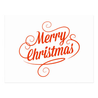 Postcard with Cheerful Merry Christmas Text