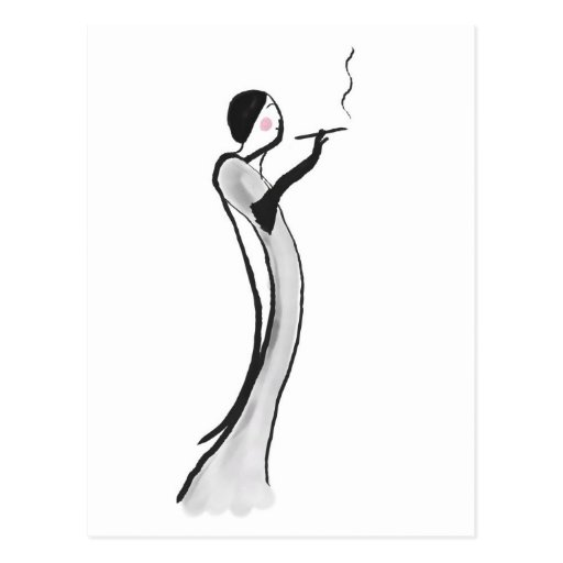 Postcard with Chic Jazz Age Lady Illustration