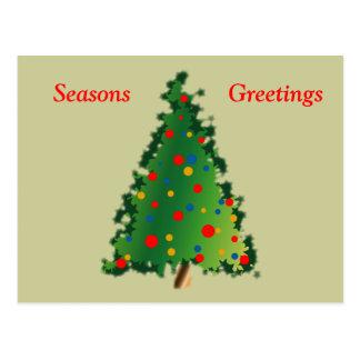 Postcard with Christmas Tree Decoration