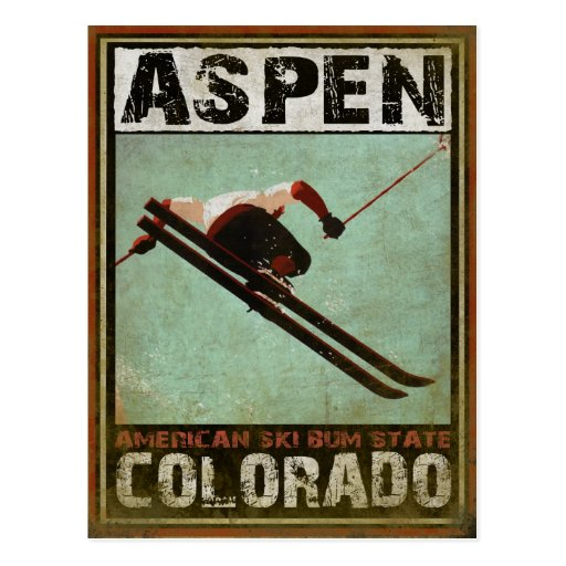 Postcard with Cool Aspen Ski Print